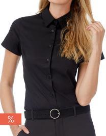 Women´s Poplin Shirt Black Tie Short Sleeve