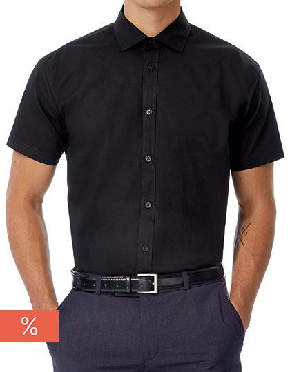 Men´s Poplin Shirt Black Tie Short Sleeve
